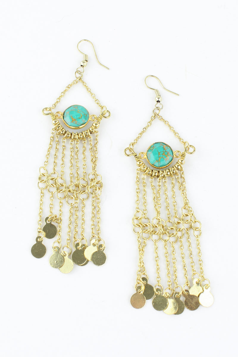 Gold Chain Drop Tassel Earrings with Turquoise Resin