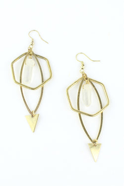 Gold Hexagon Natural Quartz Drop Earrings