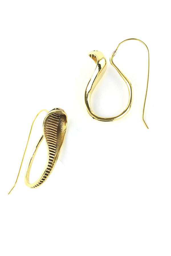 Gold Cobra Dangle Earrings