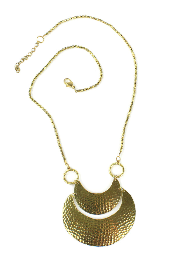 Bohemian Antique Hammered Brass Crescents Necklace