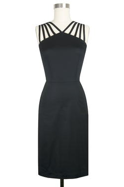 Tiffany Dress - Black Stretch Cotton Twill