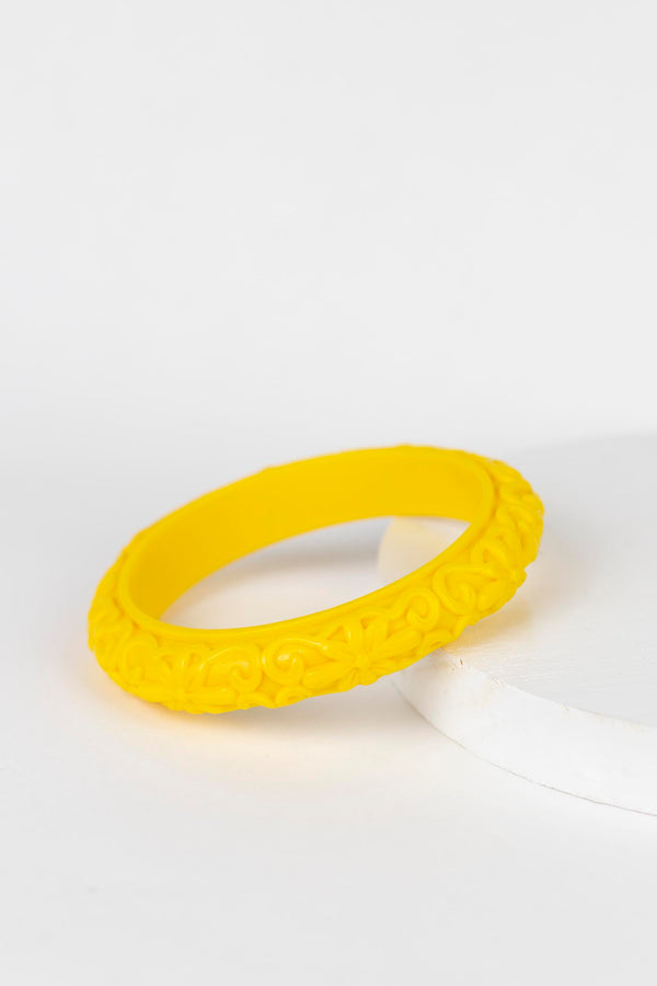 Thin Floral Carved Bangle - Yellow