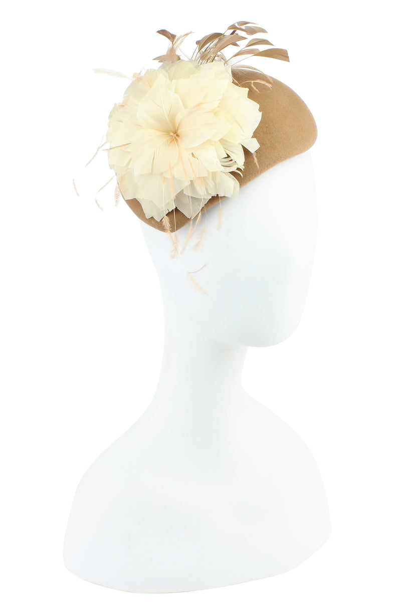 Toffee Feather Flower Pillbox Hat