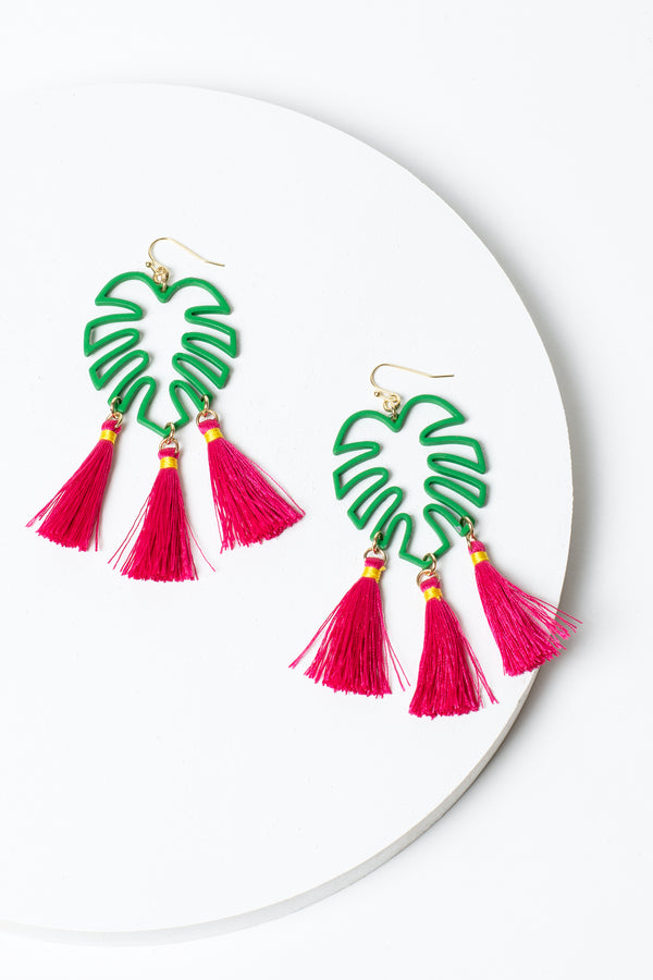 Tropical Leaf & Tassel Earrings