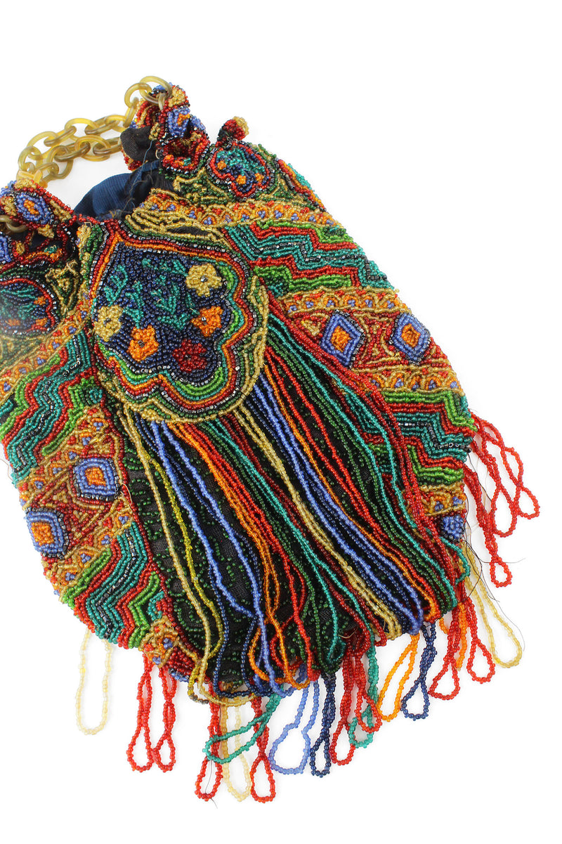 1920s Made in Belgium Colorful & Large Beaded Bag