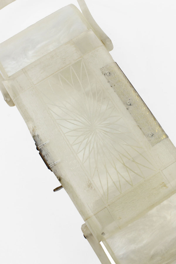 White Pearl and Clear Carved Lucite 1950s Purse