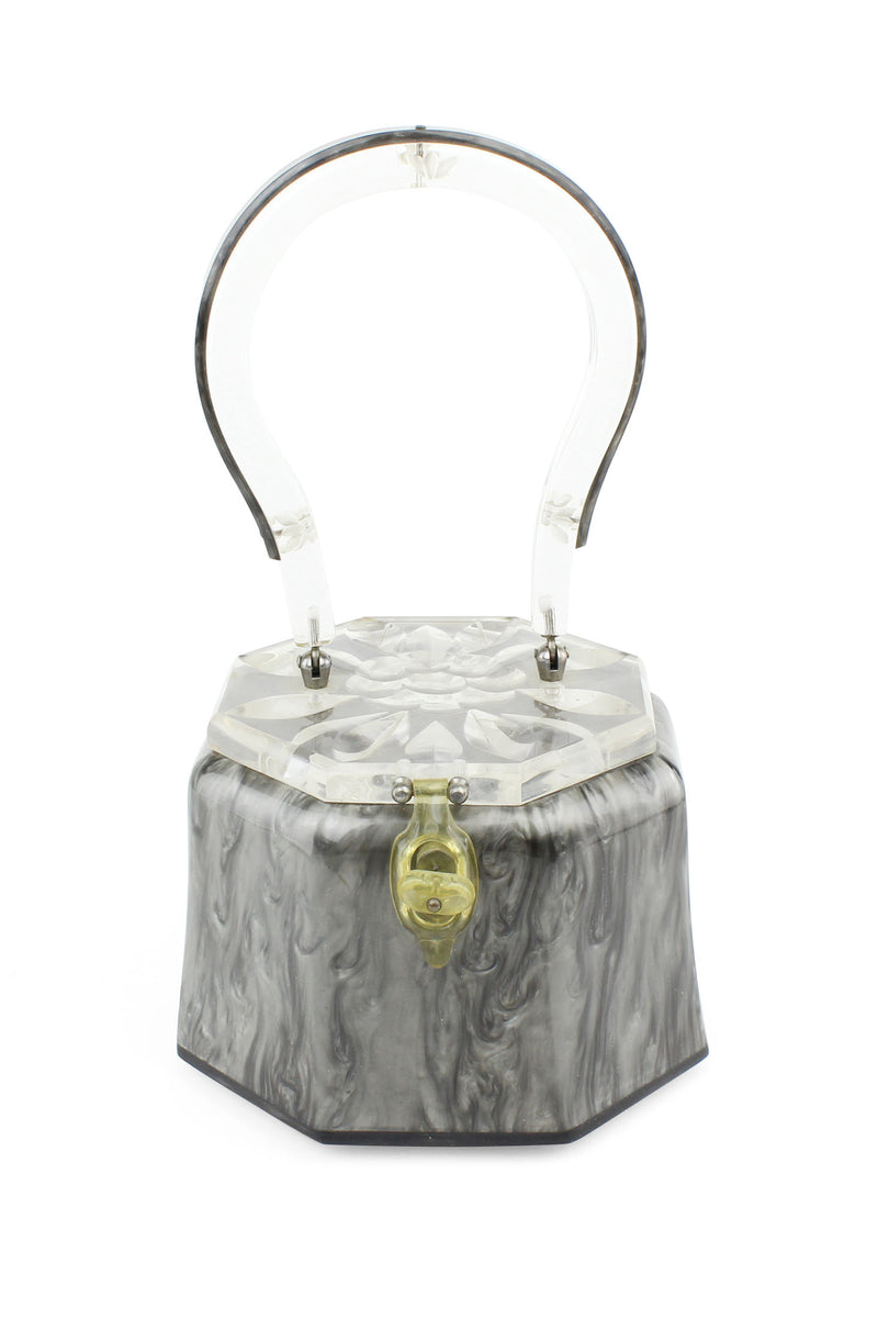 Rialto Vintage Purse with Carved Lucite Lid & Handle