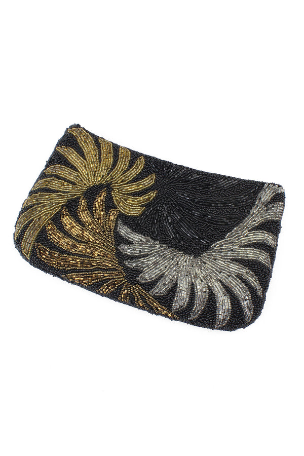 Vintage 1970s DeLill Swirls Beaded Clutch