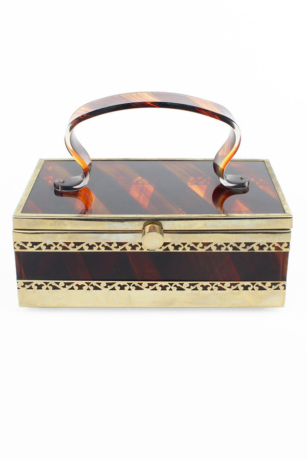 Translucent Tortoise Shell Tyrolean Lucite & Brass Purse