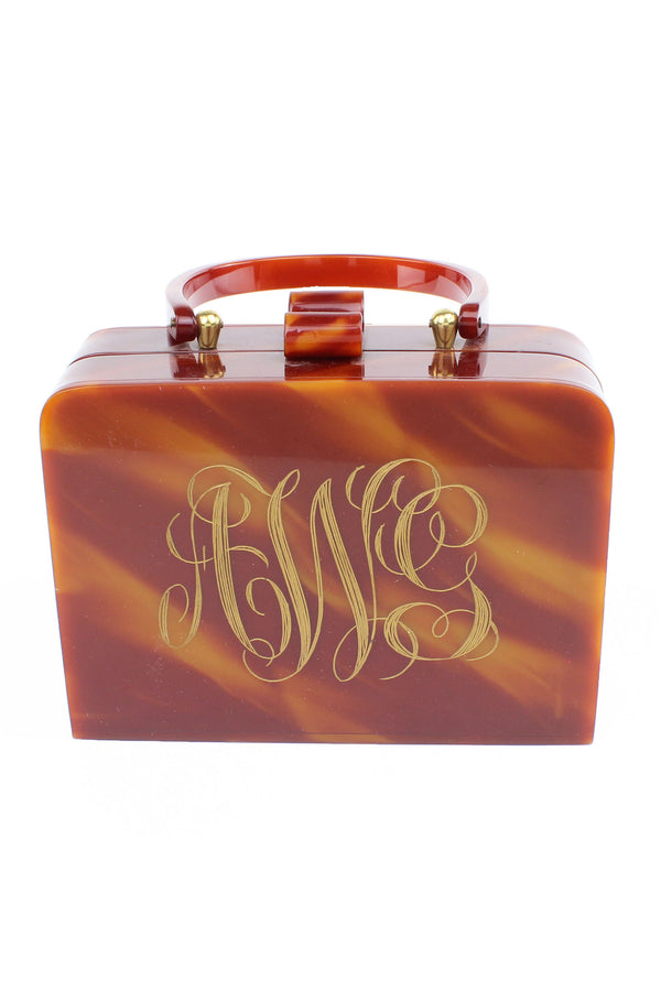 Vintage AWG Monogram Lucite Box Purse - Wilardy Style