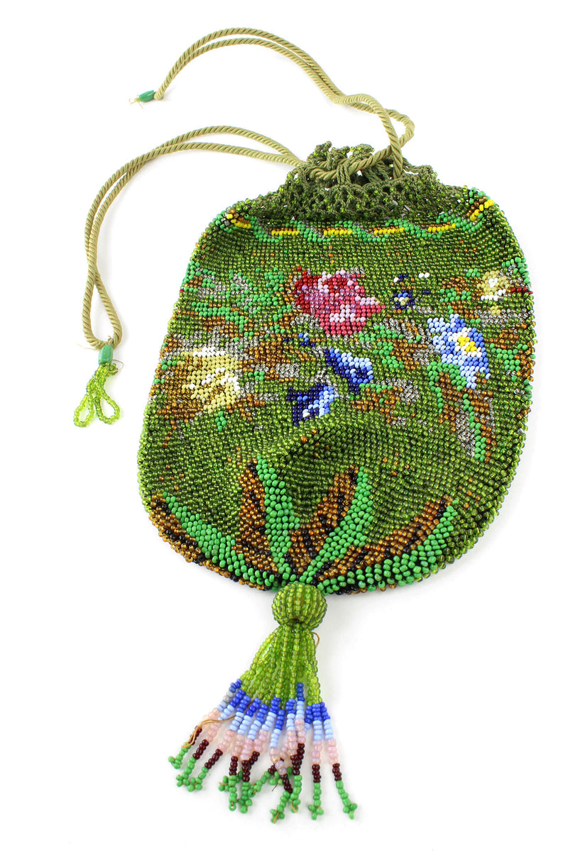 Olivine and Floral Beaded 1920s Tassel Purse