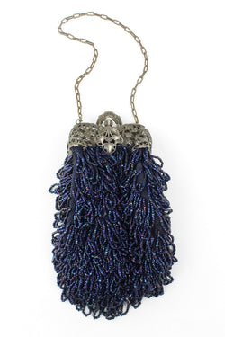 Carnival Glass Fringed 1910s 20s Purse with Ornate Frame