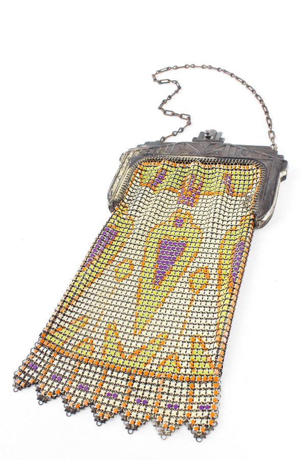 Whiting and Davis 1920s Art Deco Enamel Mesh Purse
