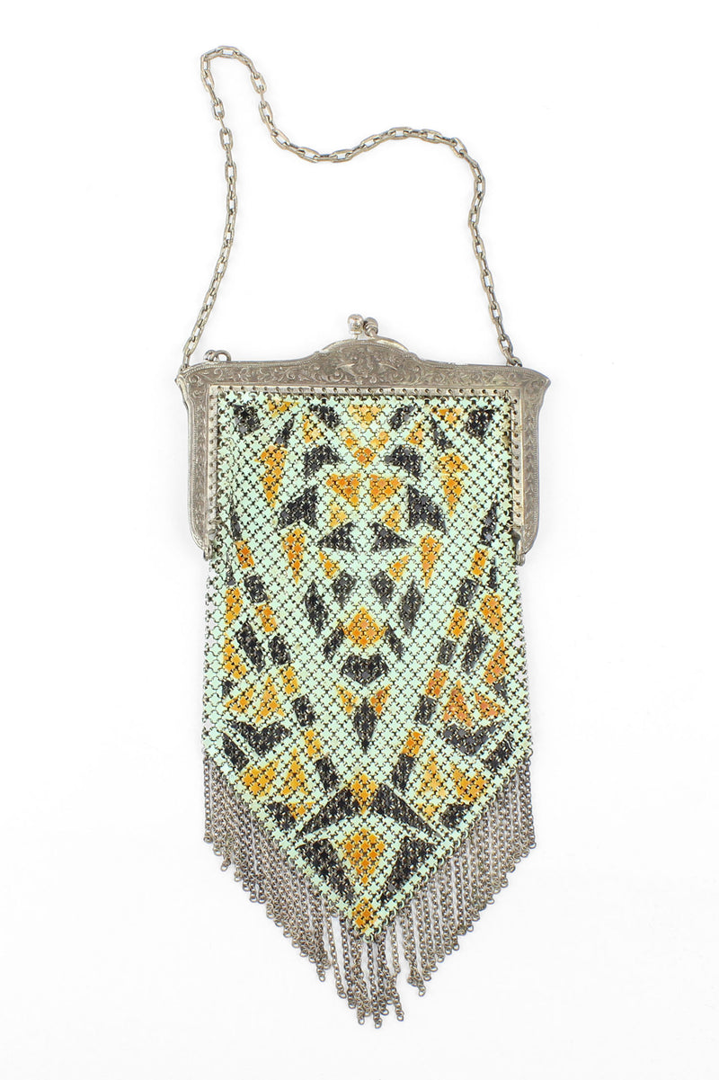 Mandalian Mfg. 1920s Enamel Metal Mesh Purse with Fringe