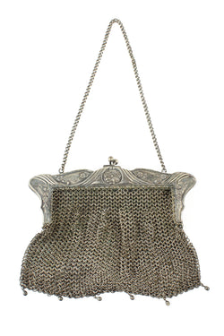 German Silver Chainmail 1900s Nouveau Floral Purse