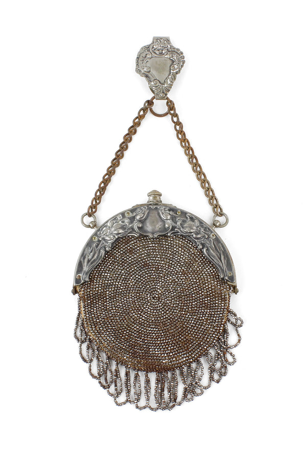 Cut Steel Beaded True Art Nouveau Chatelaine Purse