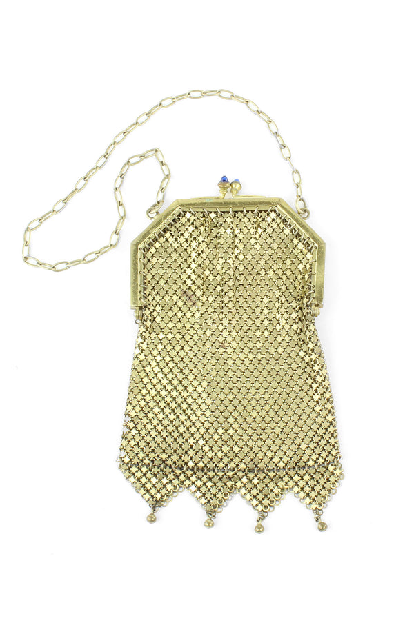 Fancy Gold tone Mesh Metal Antique Purse 1920s