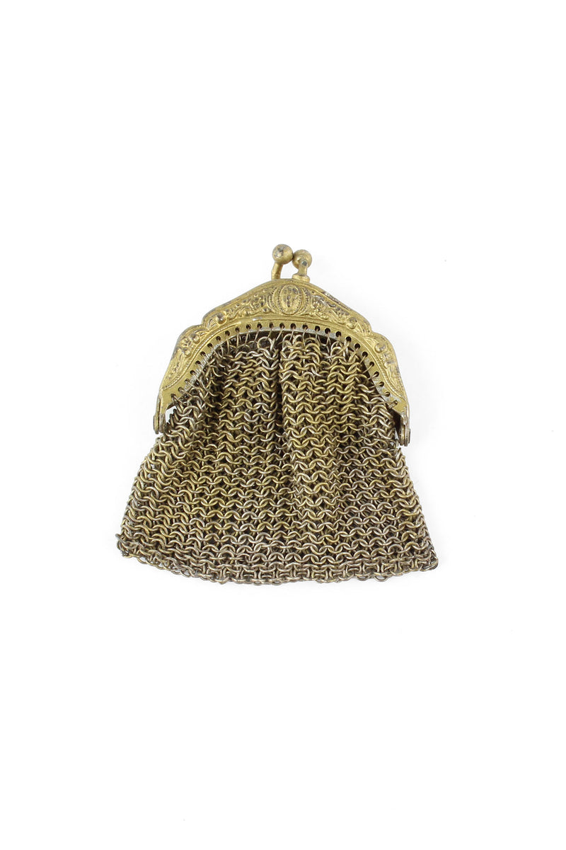 Gold tone Antique Metal Chainmail Coin Purse