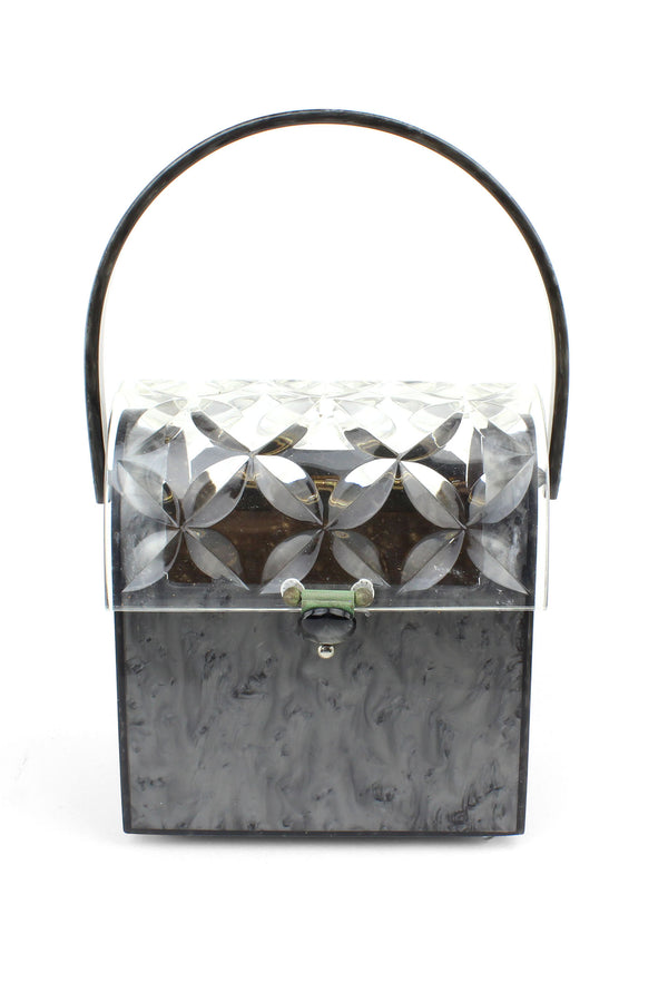 Rialto Grey Pearl and Carved Lucite Mailbox Bag