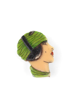 Early Plastic Carved & Painted Flapper Girl Pin