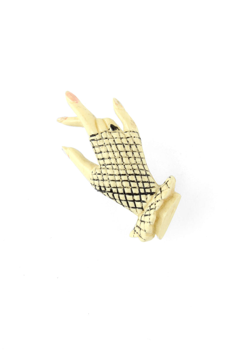 Fishnet Gloved Early Plastic Hand Pin