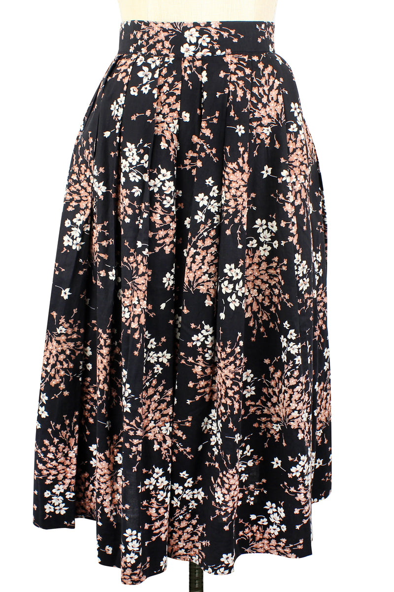 1950s Vintage Floral Spray Cotton Print Skirt XS/S