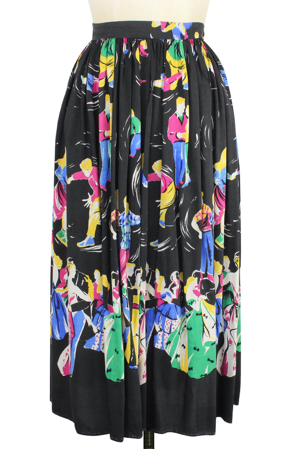 40s 50s Swing Dancer Novelty Print Skirt XS