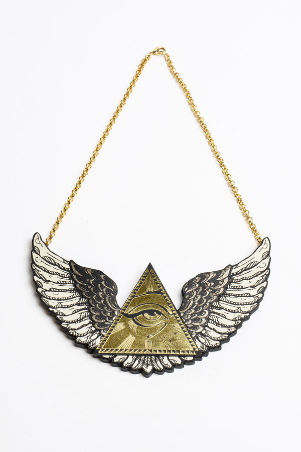 Rosita Bonita Winged All Seeing Eye Pyramid Necklace
