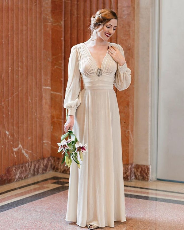 40s Velvet Long Sleeve Wedding Dress