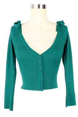 Bow Shoulder Ribbed Cardigan