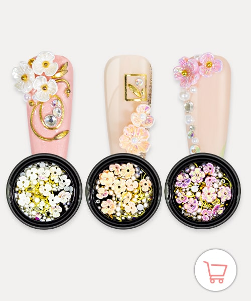 Nailart Overlay 3D Pearls Flower Mix Set