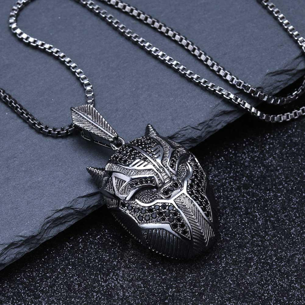Black Panther Iced Out Pendant Necklace in Gift Box