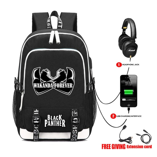 Black Panther Backpacks With USB Charge & Headphone Jack (Free Extension cord)