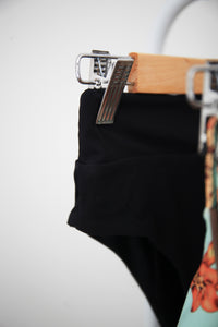 80's Banded Bottom - Black Ribbed
