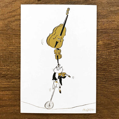 【Balancing Act】Classicats Postcard ''Musical Circus '' - SomeMusicDesign | Music Gifts