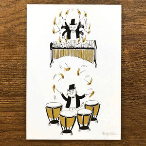 【Drumroll Please】Classicats Postcard ''Musical Circus '' - SomeMusicDesign | Music Gifts