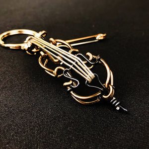 【Cello】Wire Art Instrument Charm - SomeMusicDesign | Music Gifts