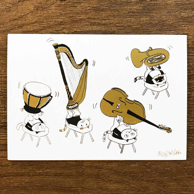 【Musical Feet】Classicats Postcard ''Musical Circus '' - SomeMusicDesign | Music Gifts