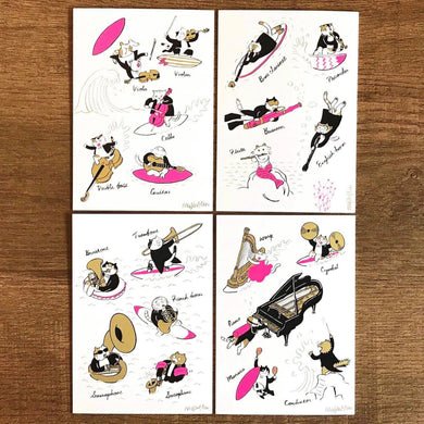 【Summer】Classicats Postcard ''Four Seasons'' |4 pcs - SomeMusicDesign | Music Gifts