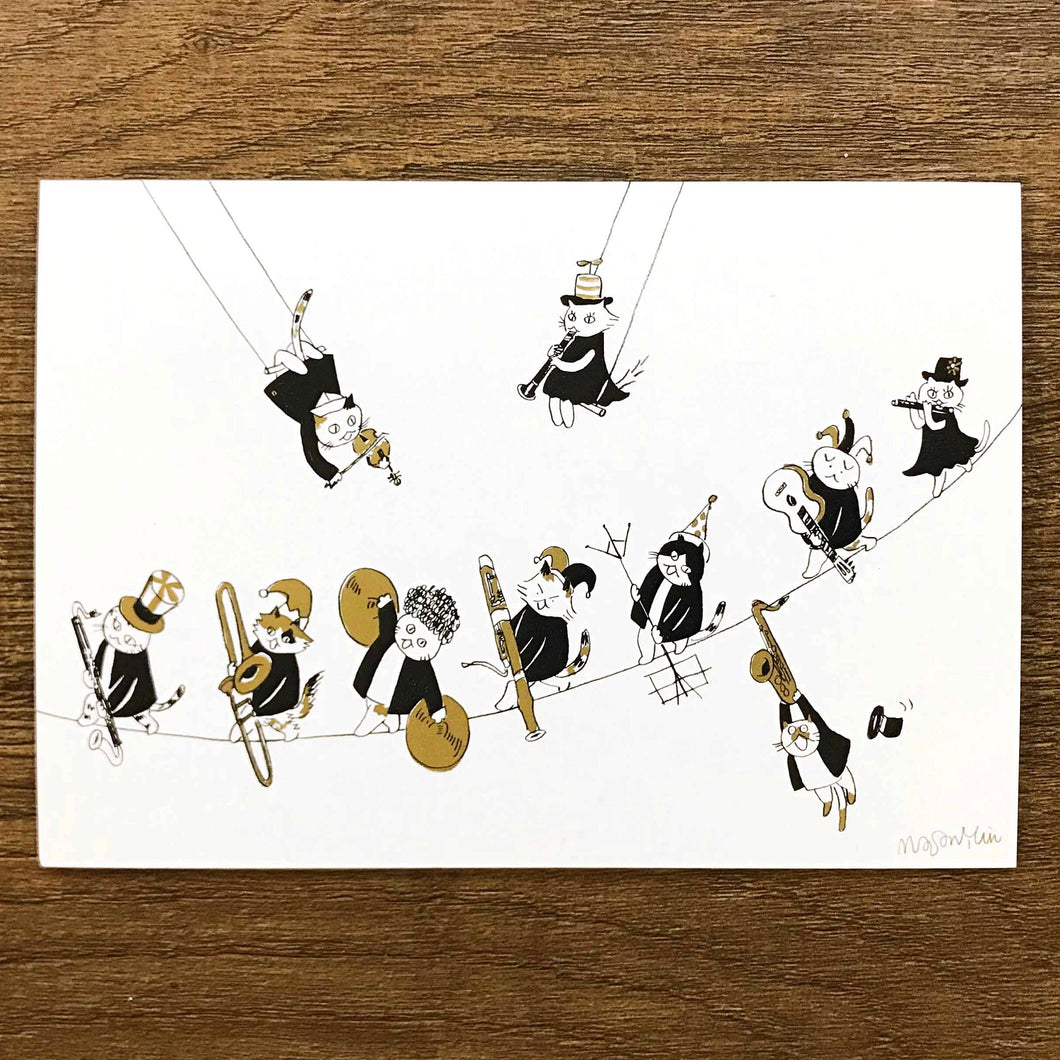 【Glissando】Classicats Postcard ''Musical Circus '' - SomeMusicDesign | Music Gifts