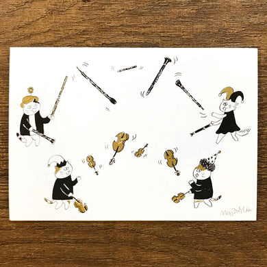【Juggling Act】Classicats Postcard ''Musical Circus '' - SomeMusicDesign | Music Gifts