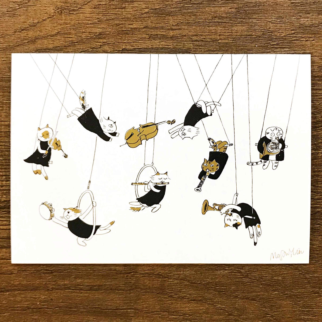 【I Can Fly】Classicats Postcard ''Musical Circus '' - SomeMusicDesign | Music Gifts