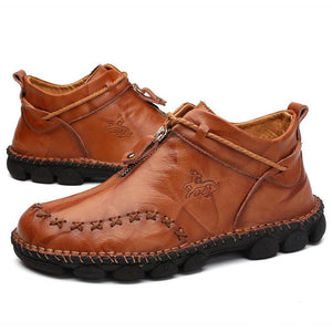 Men Hand Stitching Leather Non Slip Large Size Soft Sole Casual Boots
