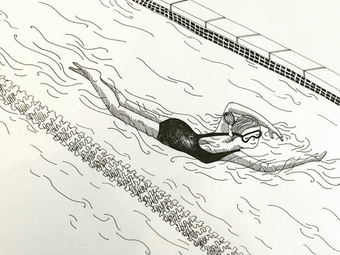 Hand drawn image of swimmer by Chelsey Wilson