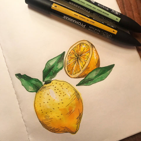 Lemons drawn with Promarkers - by Chelsey Wilson