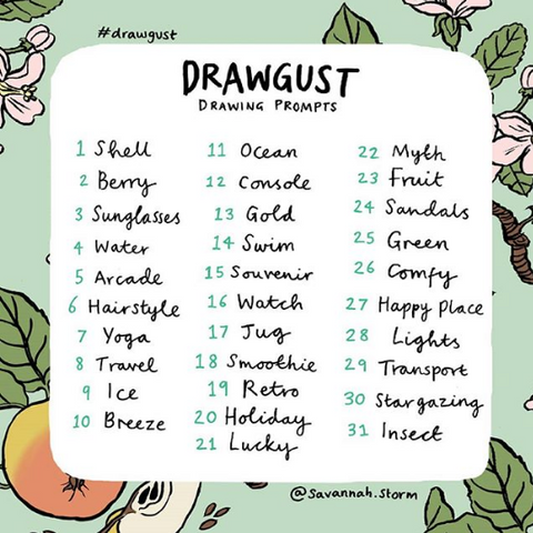 Drawgust prompts by British Illustrator Savannah Storm