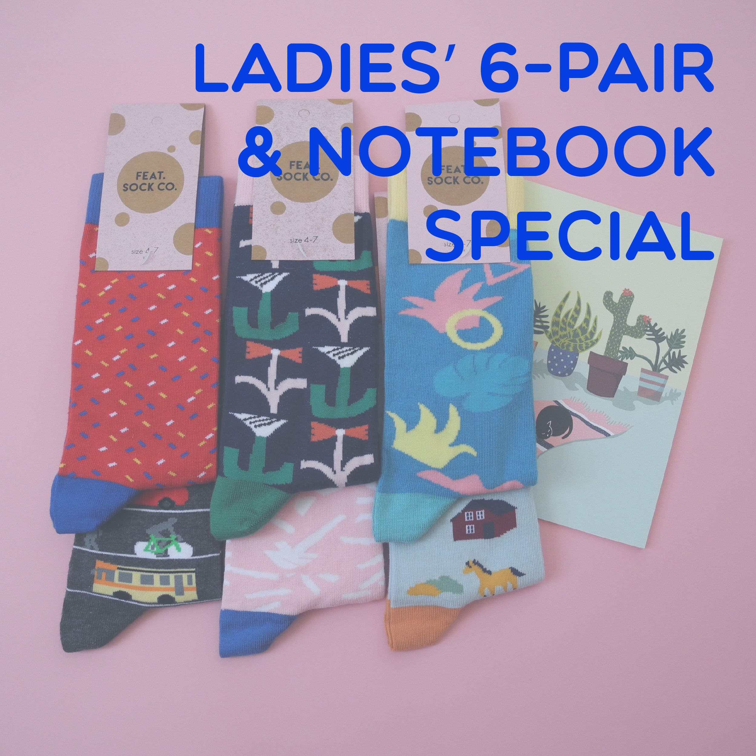 Ladies' 6-pair & notebook special