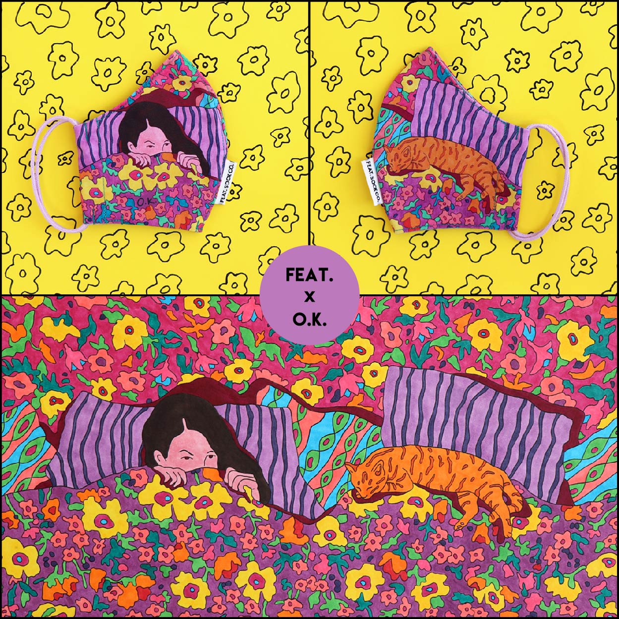 'Catnap' Fabric Face Mask by O.K.
