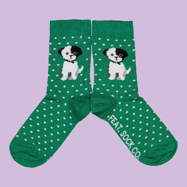 Ladies' Green Eddie Bear socks