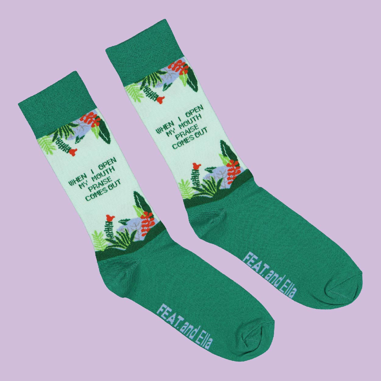 Unisex 'Praise Comes Out' socks by Ella
